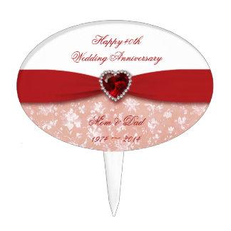 Damask 40th Wedding Anniversary Design Cake Topper