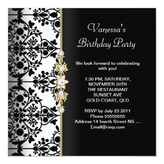 Damask Birthday Party Gold Black White Floral 13 Cm X 13 Cm Square Invitation Card