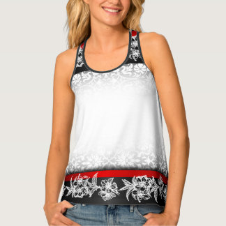Damask Floral Pattern Tank Top