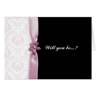 Damask Pink Will you be my bridesmaid card