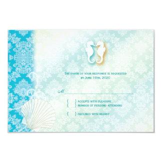Damask Sea Horse Summer Beach Wedding RSVP 9 Cm X 13 Cm Invitation Card