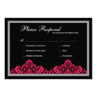 Damask  Wedding rsvp 9 Cm X 13 Cm Invitation Card
