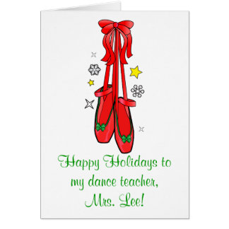 Dance Teacher Christmas Ballet Shoes Greeting Card