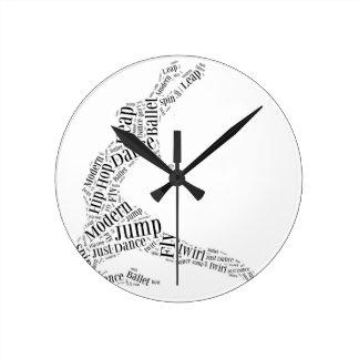 Dance Word Cloud Black & White Clock