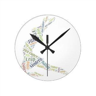 Dance Word Cloud Wall Clocks