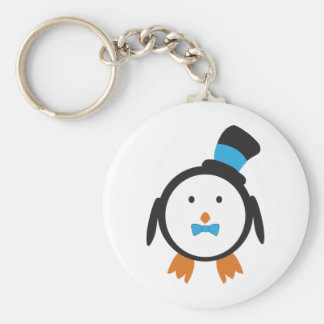 Dapper Penguin in Top Hat Basic Round Button Key Ring