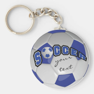 Dark Blue and White Personalize Soccer Ball Basic Round Button Key Ring