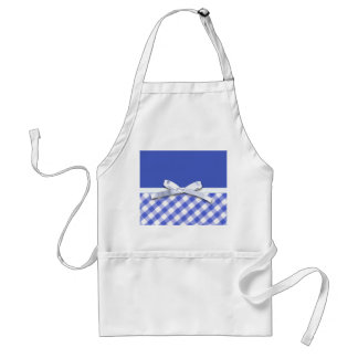 Dark blue gingham with white ribbon bow graphic standard apron