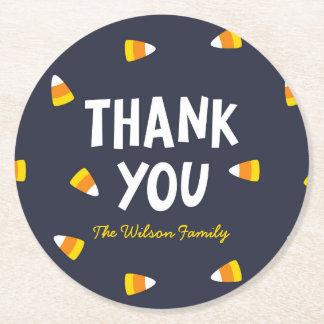 Dark Blue Halloween Candy Corn Thank You Round Paper Coaster
