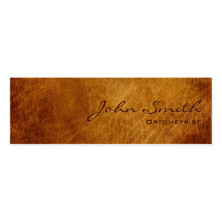 Dark Brown Leather Optometrist Business Card