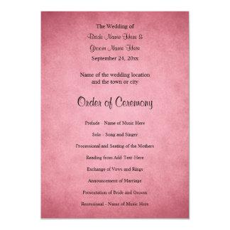 Dark Dusky Pink Mottled Pattern Wedding Program 13 Cm X 18 Cm Invitation Card