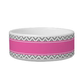 Dark Gray Lg Chevron Hot Pink #2 Name Monogram Cat Water Bowls