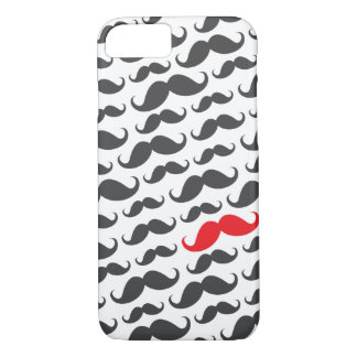 Dark gray mustache pattern with one red moustache iPhone 7 case