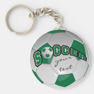 Dark Green and White Personalize Soccer Ball Basic Round Button Key Ring