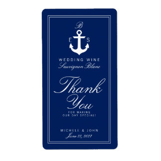 Dark Nautical Monogram Wedding Wine Custom Label Shipping Label