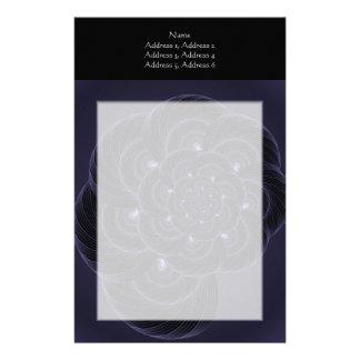 Dark Purple Flower Graphic. Spiral. Stationery Design