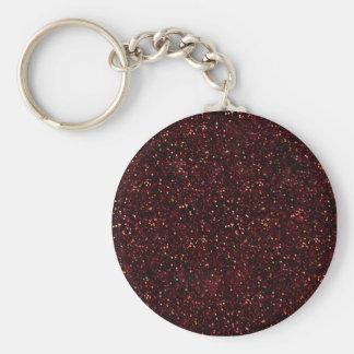 Dark Red Ruby Glitter Basic Round Button Key Ring