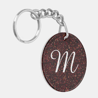 Dark Red Ruby Glitter Double-Sided Round Acrylic Key Ring