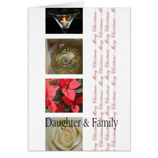 Daughter & Family Christmas red, black & white Greeting Card