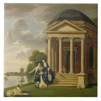 David Garrick (1717-79) and his Wife by his Temple Large Square Tile