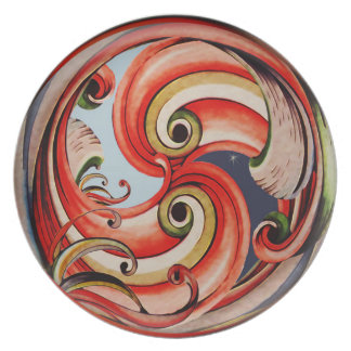 Day and Night Ribbon Circle Decorative Plate