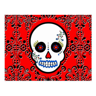 Day of the Dead Sugar Skull - White and Red Postcard