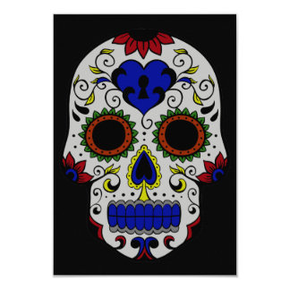 Day of the Dead with Blue Key Heart 9 Cm X 13 Cm Invitation Card