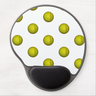 Dayglo Yellow Softball Pattern Gel Mouse Pad