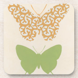 Decorative Butterfly Patterns on Cream Background Drink Coasters