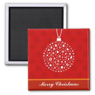 Decorative Christmas Ornament Design Square Magnet