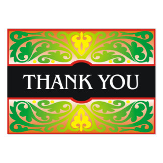 Decorative green and black thank you card pack of chubby business cards