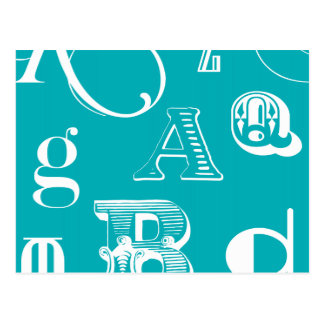 Decorative Letters on Blue Background Postcard