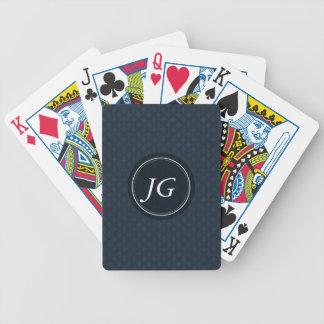 Deep Classic Navy Blue Pattern Custom Monogram Poker Deck