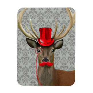 Deer With Red Hat and Moustache Rectangular Photo Magnet