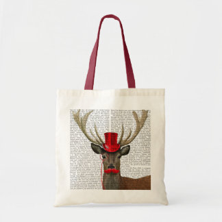 Deer with Red Top Hat and Moustache Budget Tote Bag