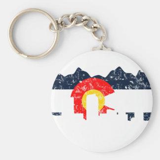 Denver Colorado Flag Basic Round Button Key Ring
