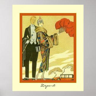 Depart ~ Vintage Art Deco Fashion Illustration ~ Poster