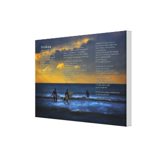 Desiderata Poem on Surfing At Sundown - SMALL Canvas Print