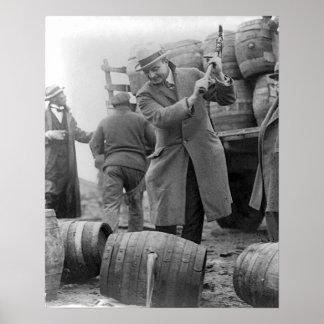 Destroying Kegs of Beer, 1924. Vintage Photo Poster