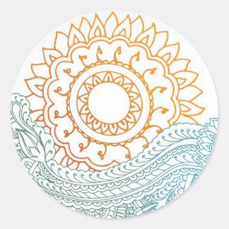 Detailed henna abstract sunrise round sticker