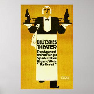 Deutches Theater Restaurant ~ Vintage Ad Poster