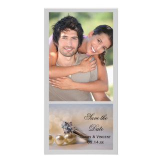 Diamond Ring and Pearls Wedding Save the Date Customized Photo Card