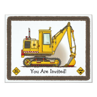 Digger Shovel Kids Party Invitation