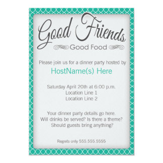 Dinner Party Invitations in Emerald