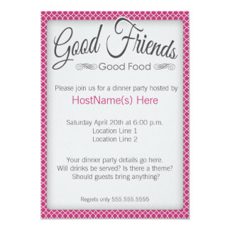Dinner Party Invitations in Pink