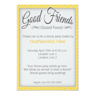 Dinner Party Invitations in Yellow