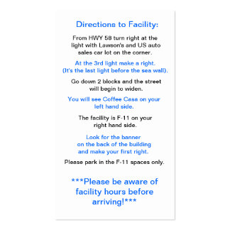 Directions to Facility in Okinawa Pack Of Standard Business Cards