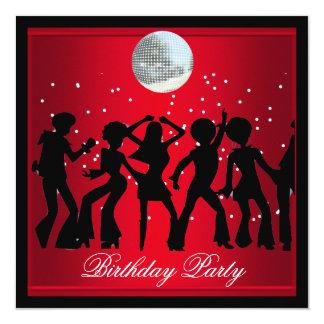 Disco 70's Birthday Party Red retro 2 13 Cm X 13 Cm Square Invitation Card