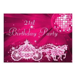 Disco Ball, Princess Coach & Horses 21st Birthday 13 Cm X 18 Cm Invitation Card