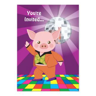 Disco Pig 13 Cm X 18 Cm Invitation Card